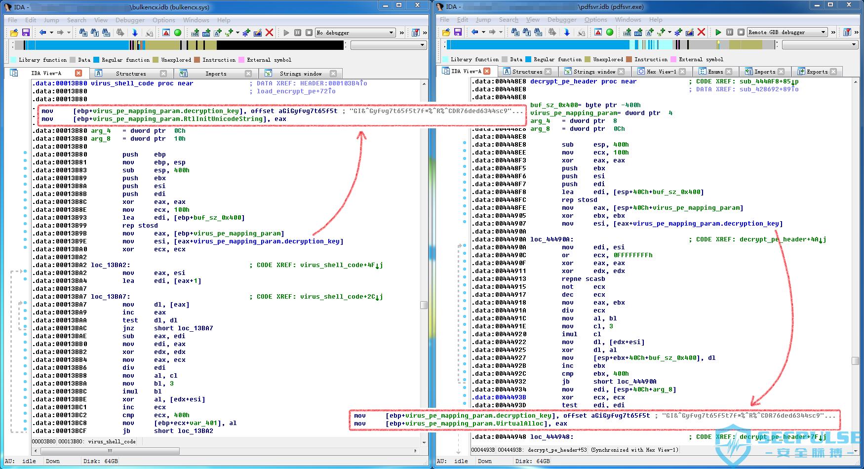 27 BulkEncX.sys和pdfsvr.exe中解密密钥和算法对比